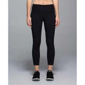 Lululemon Runday Crop Black Zipper Leg Size 6
